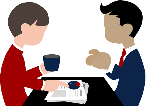 business man & woman sitting at table looking at case management reports